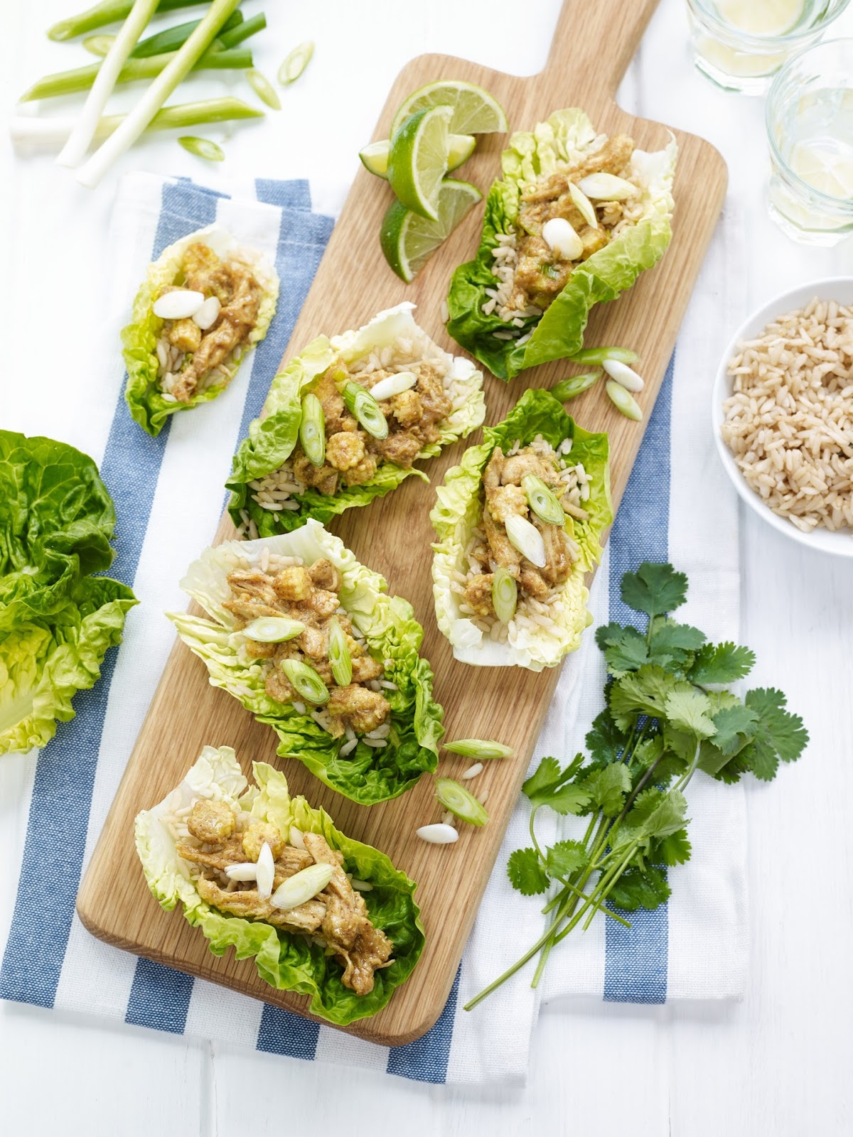 Satay Chicken in Baby Gem Lettuce Cups