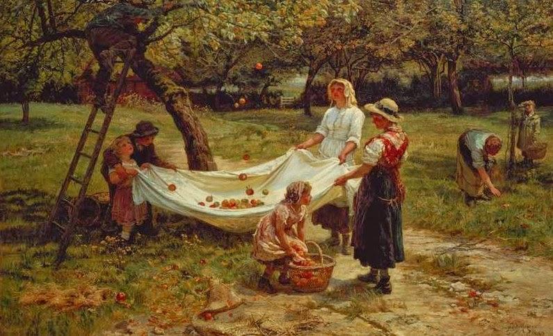 Colhendo Maças - Frederick Morgan e suas pinturas ~ Pintor de cenas da infância