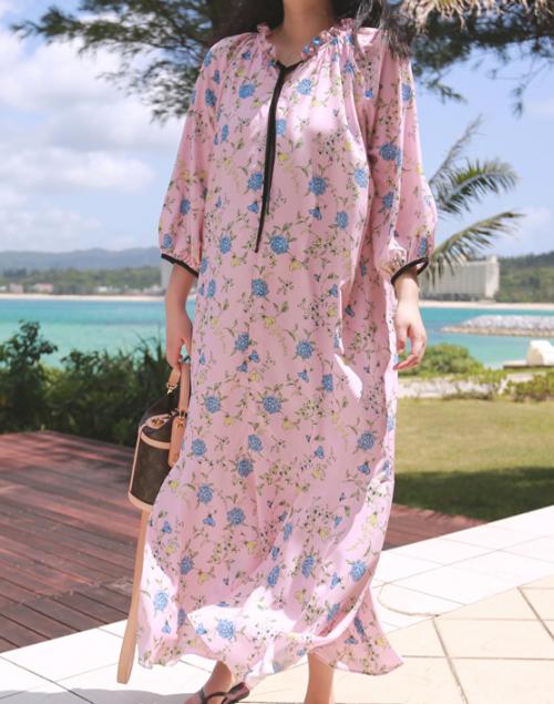 Contrast Tie Strap Floral Dress