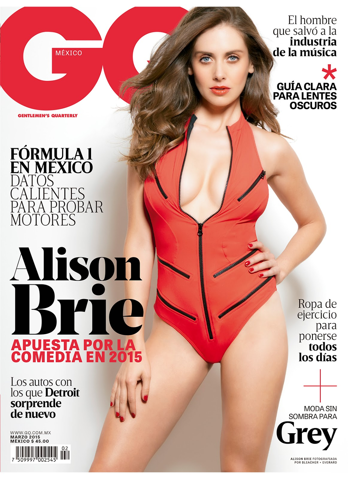 Alison Brie covers GQ Mexico March 2015 in a low-cut swim suit