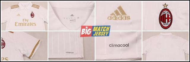 Detail Jersey Bola Ac Milan Away Terbaru Warna Putih Musim 2017 GO