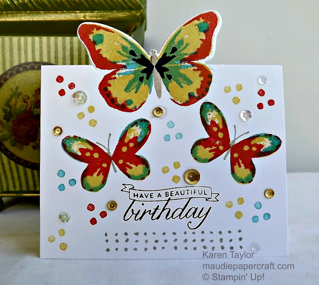 Stampin' Up! Watercolor wings cut out card