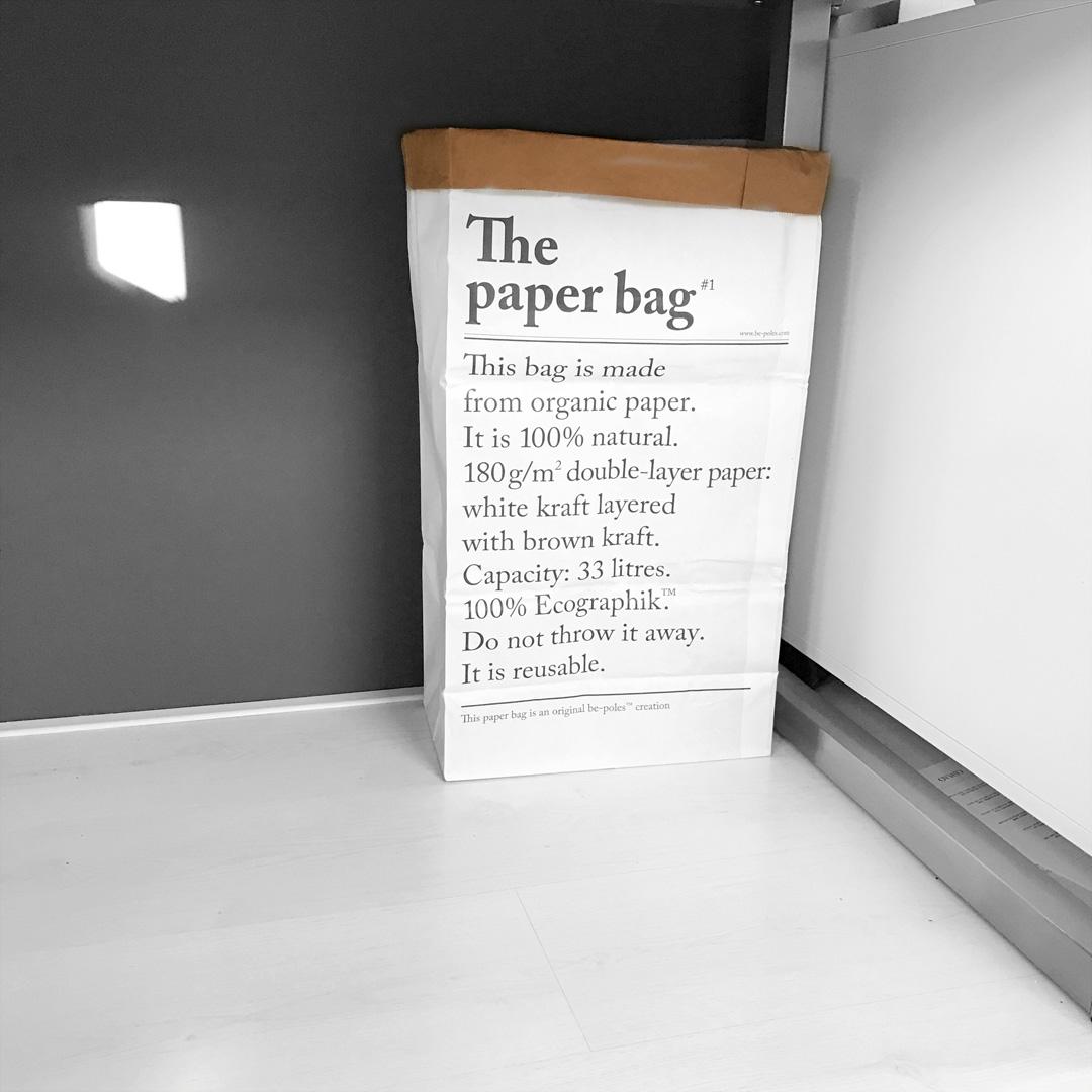 Be-poles, paper bag, sac a papier, houtje van papier, interior design