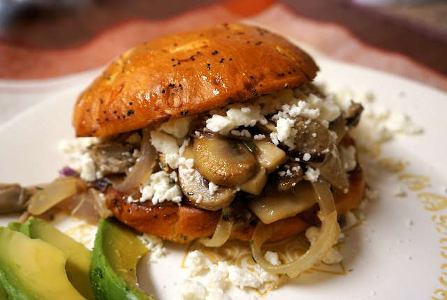 Mushroom Medley Burger with Feta and Herbs