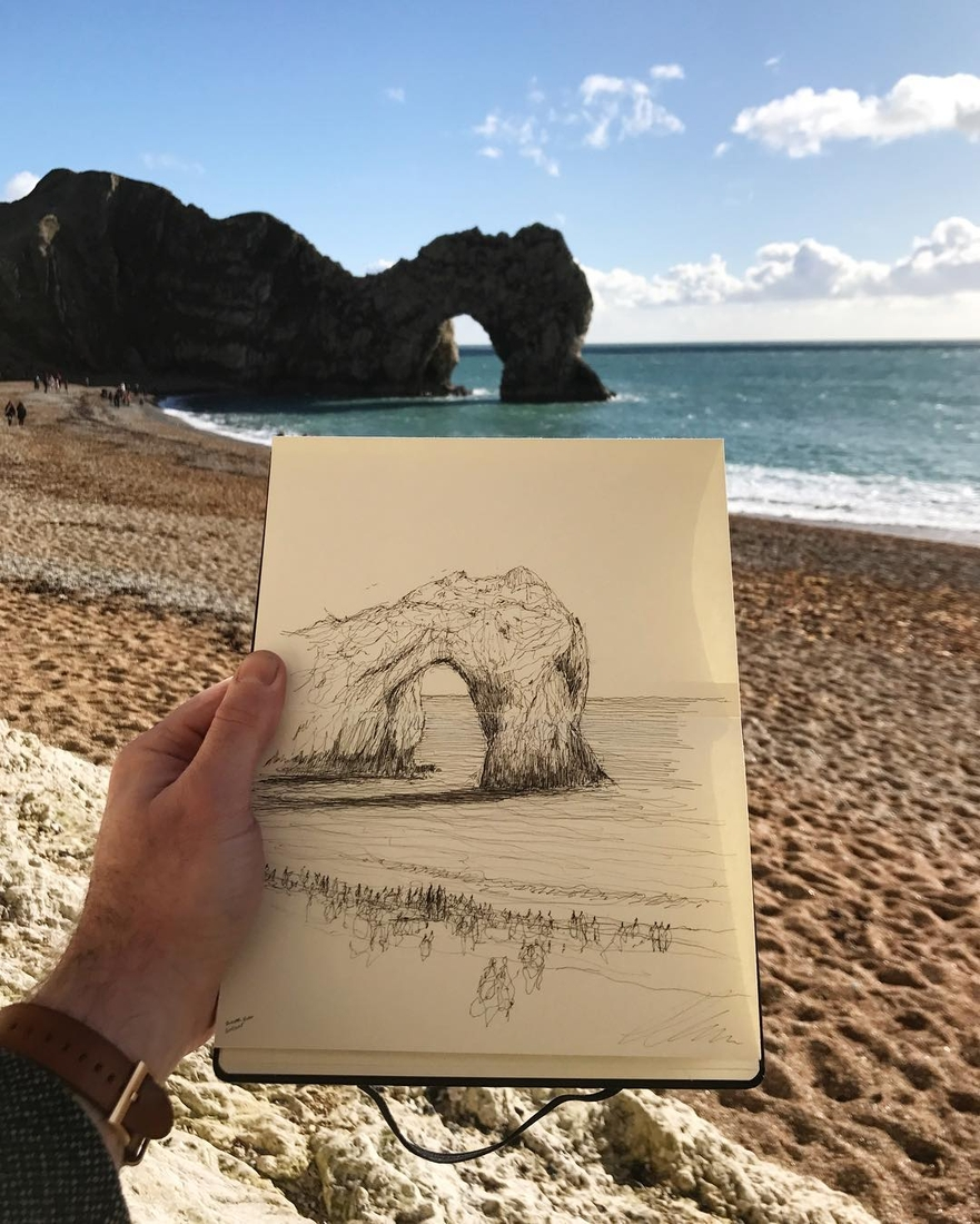 14-Durdle-Door-Jurassic-Coast-Dorset-UK-Luke-Adam-Hawker-Architectural-Illustration-of-Imposing-Buildings-www-designstack-co