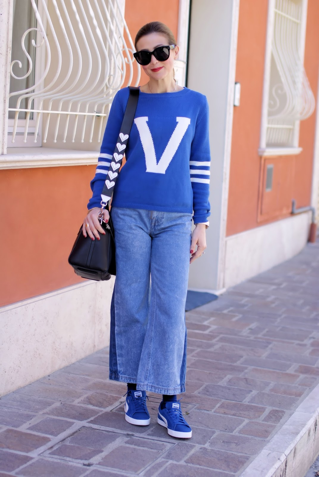 The initial letter sweater trend, royal blue outfit on Fashion and Cookies fashion blog, fashion blogger style