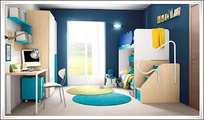Kamar Tidur Minimalis Warna Biru
