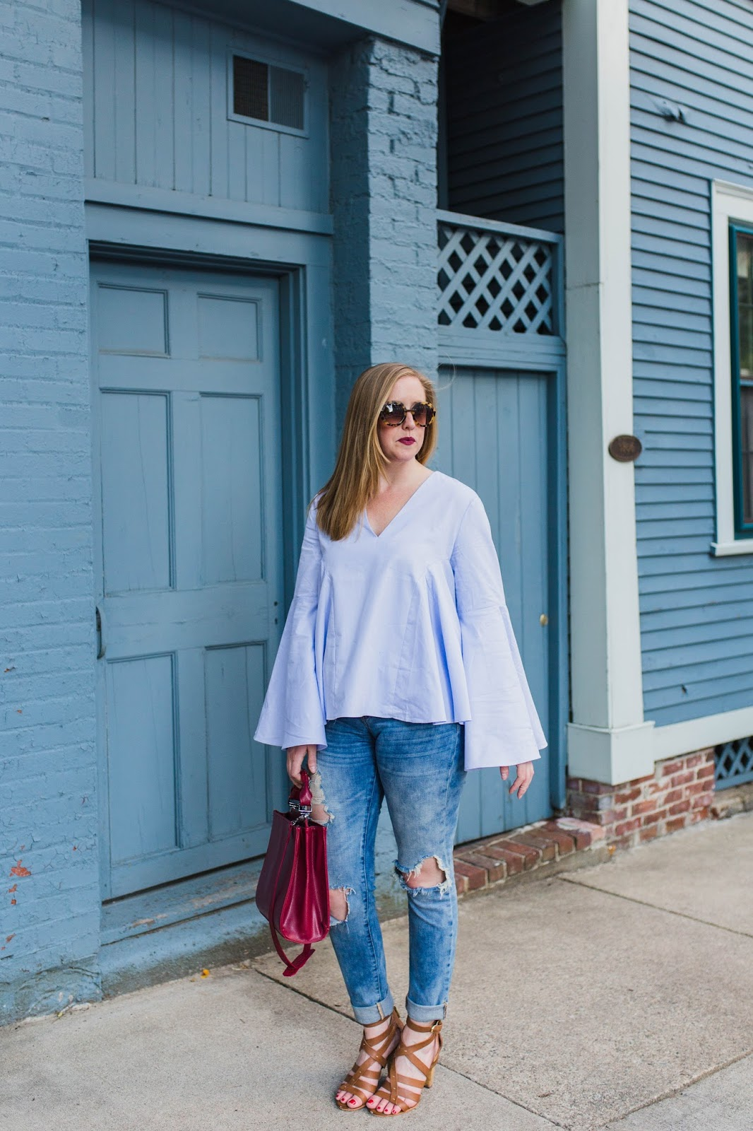 charlestown fashion blogger, lcs studios, boston style blogger, on the blog, bell sleeve top, shopbop bell sleeve