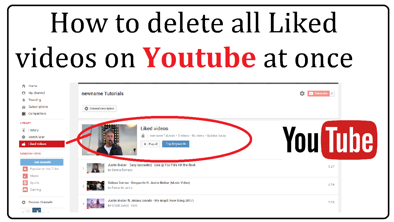 How to delete all liked videos on youtube ccuart Choice Image