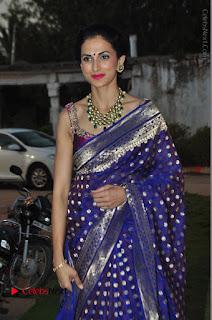 Model Shilpa Reddy Stills in Purple Silk Saree at Gudi Sambaralu 2017 Sri Ramachandra Swami Temple  0035.JPG
