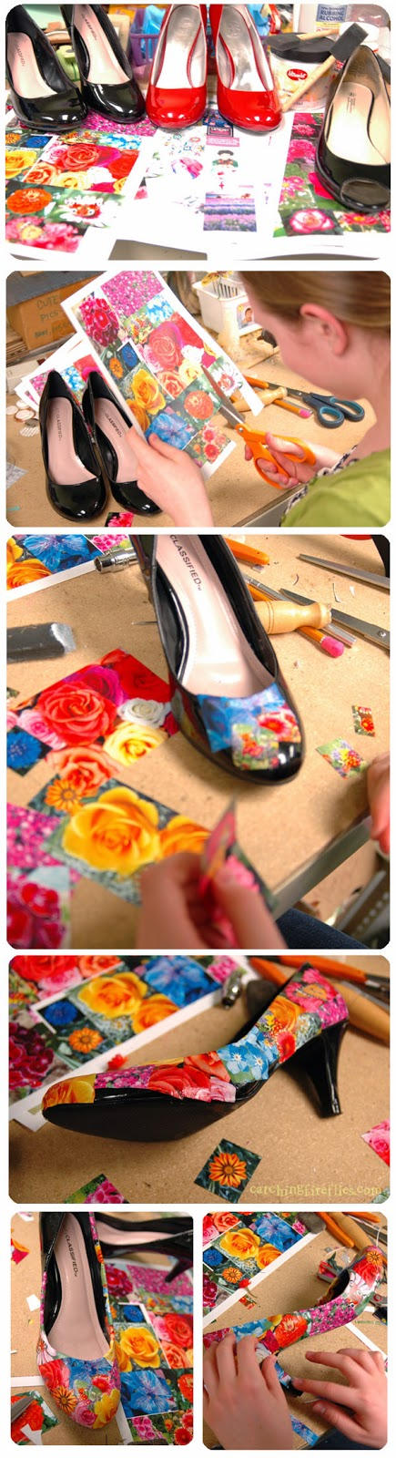 zapatos, decoupage, diys, manualidades, customizar, tunear
