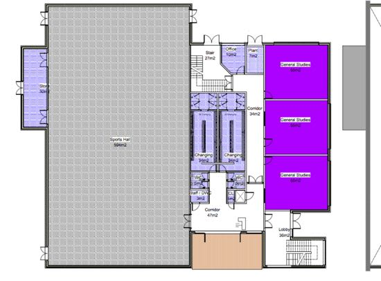 New Sports Hall block Ground Floor Plan 1:100  Internal Ground Floor Area 1058m2 Image courtesy of Chancellor's School