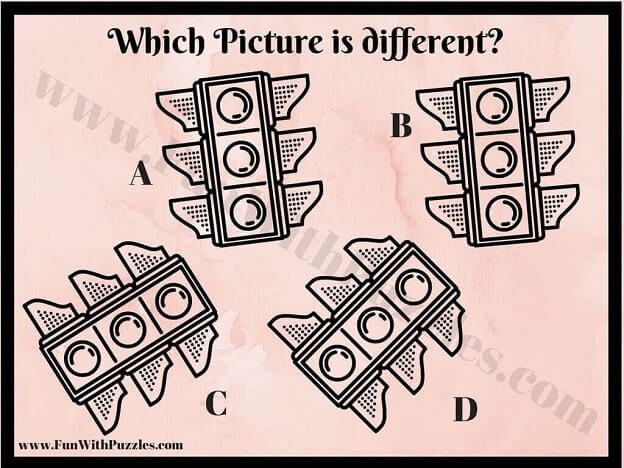 Visual Picture Puzzle to find Odd One Out