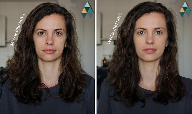 photo avant après et résultat Bibi Nova Mi-rê fond de teint unifiant