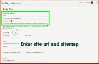 submit website URL ads sitemap to Bing Webmaster tools