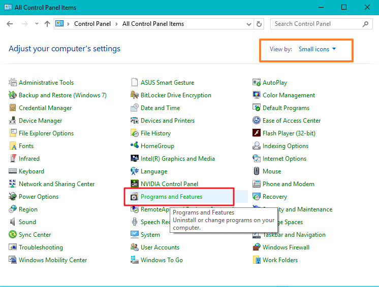 uninstall Windows 10 programs from Control panel
