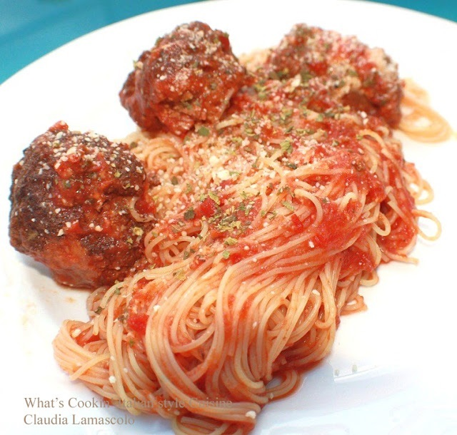 this is a dish with spaghetti and meatballs using chicken parmesan meatballs