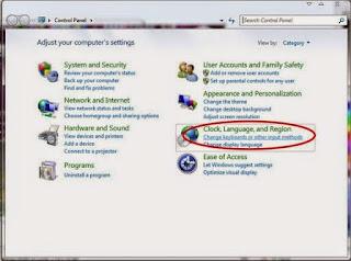 Menambah Bahasa Arab di Windows 7