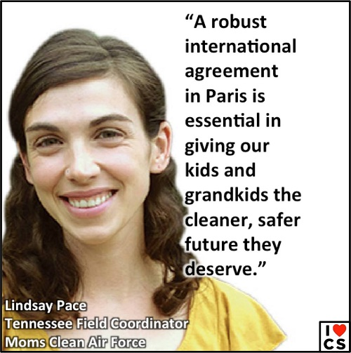 """A robust agreement in Paris is essential in giving our kids and grandkids the cleaner safer future they deserve.""  (Credit: www.facebook.com/iheartcomsci)"