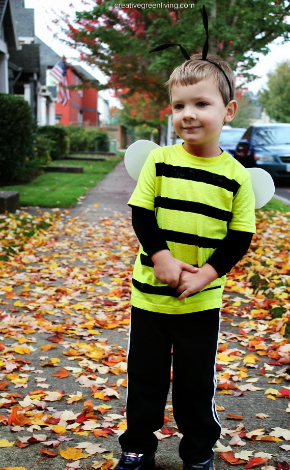 ... he already had to go with the costume. I love how this turned out and that it is sturdy enough to stand up to more imaginative play after Halloween!  sc 1 st  Creative Green Living & Bumble Bee Costume Tutorial Inexpensive u0026 No-Sew - Creative Green ...