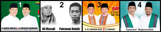 Empat pasang calon Bupati dan wakil Bupati Kabupaten Lombok Timur 2018