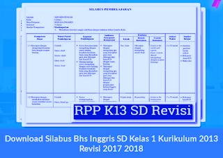Download Silabus Bhs Inggris SD Kelas 1 Kurikulum 2013 Revisi 2017 2018
