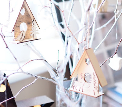 white rustic tree with decorations