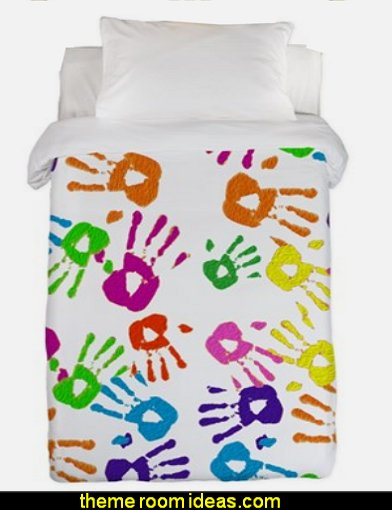 vertical handprints Twin Duvet  playrooms alphabet numbers decorating ideas - educational fun learning letters & numbers decor - abc 123 theme bedroom ideas - Alphabet room decor - Numbers room decor - Creative playrooms educational children bedrooms - Alphabet Nursery - Alphabet Wall Letters - primary color bedroom ideas - boys costumes - girls costumes pretend play - fun playroom furniture