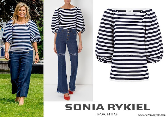 Queen Maxima wore SONIA RYKIEL Navy and White Stripe Balloon Sleeve Jumper