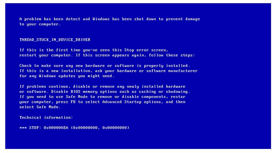 حل-مشكلة-الشاشة-الزرقاء-0x000000EA-Thread-Stuck-In-Device-Driver