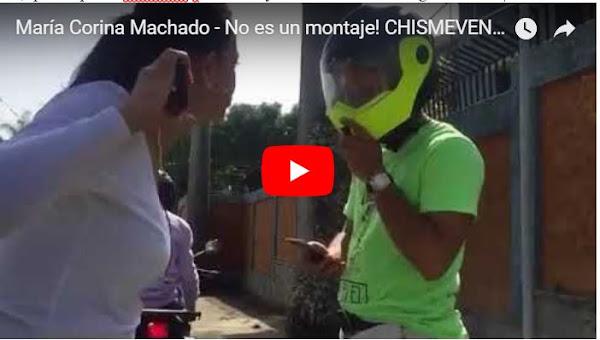 María Corina Machado se enfrenta a dos motorizados cuerpo a cuerpo