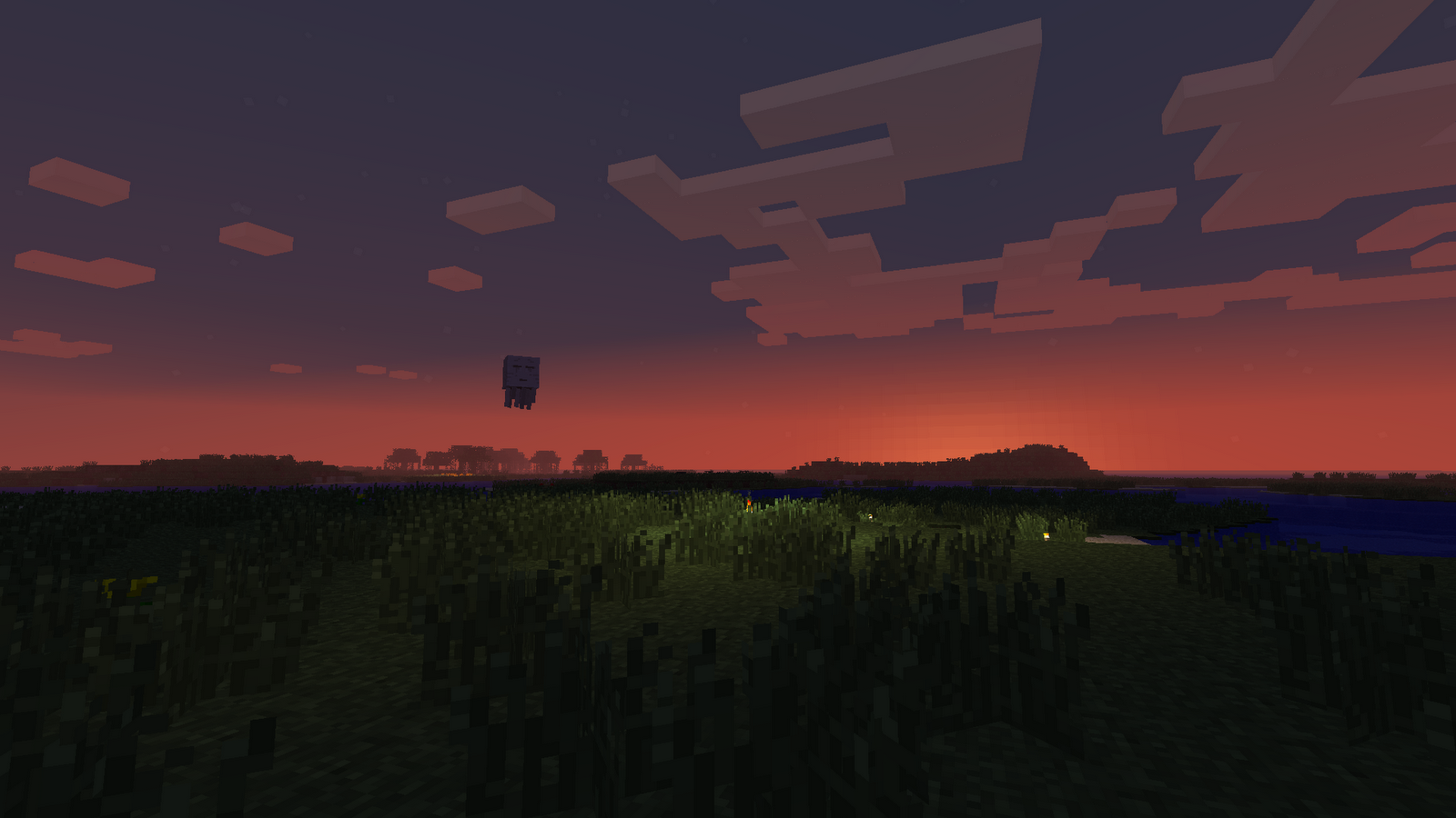 D74g0ns Minecraft Pixel Sun Ghast Sunset Wallpaper