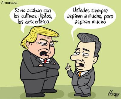 Resultado de imagen para Juan Manuel Santos Trump cartoons