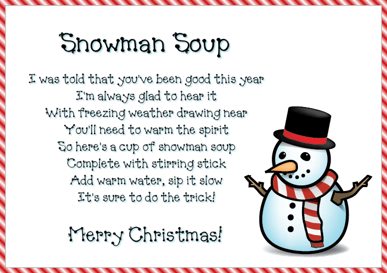 image about Snowman Soup Printable Tag titled Offer The Present Of Snowman Soup!