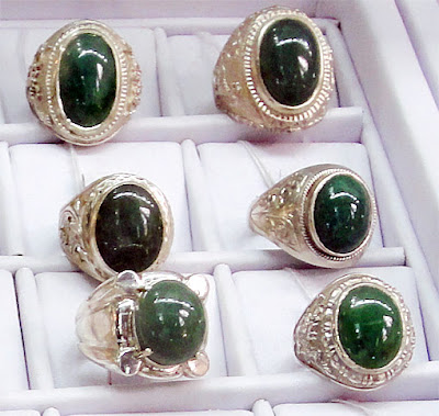 Dark Green Jade Cabochon Rings in silver  and white gold setting