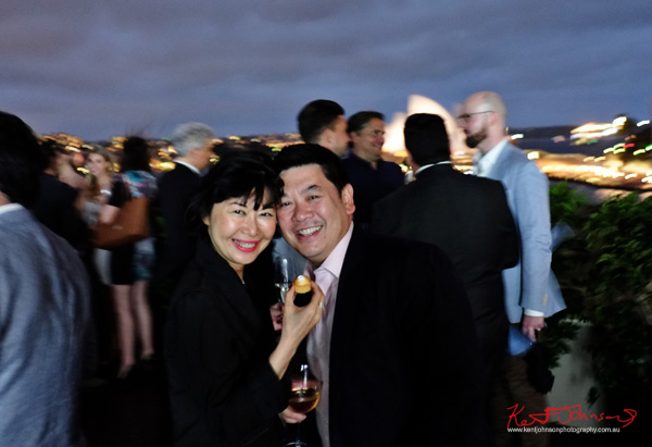 Vivienne Shui and Dion Woo, rooftop night portrait from the MCA with the Sydney Opera House in the background, Connect Italy 2017, Sydney, Australia. Street Fashion Sydney by Kent Johnson.