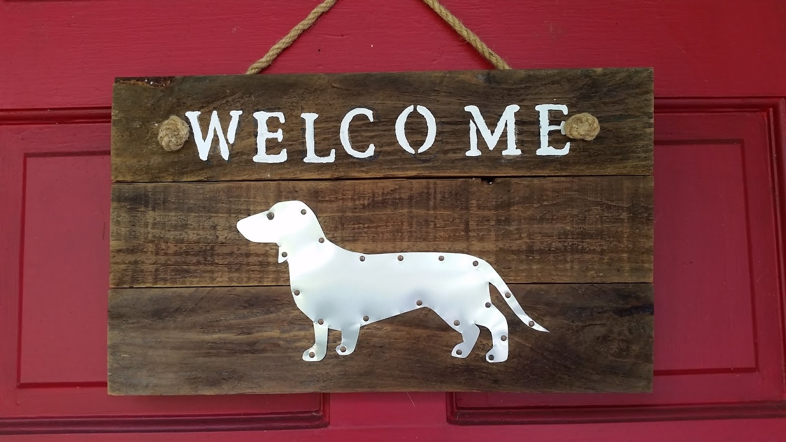 Eclectic Red Barn Dachshund Welcome Sign