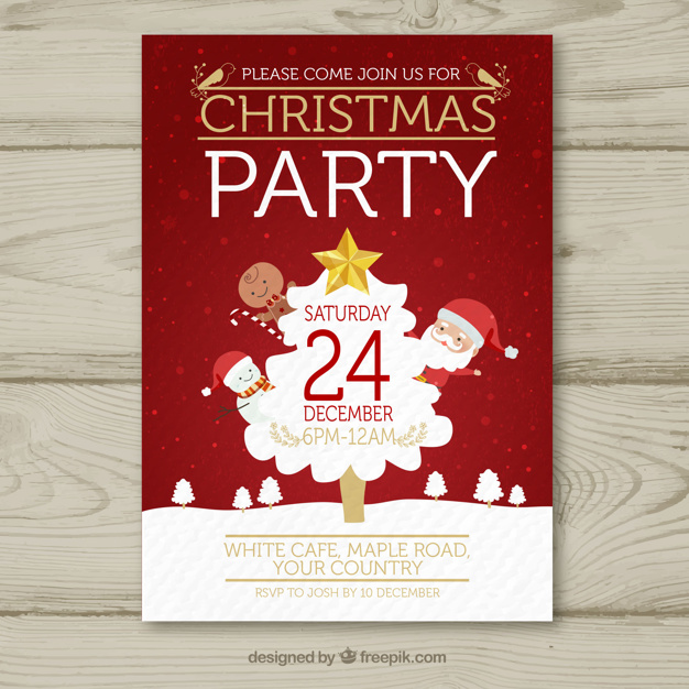 Christmas poster with classic elements Free Vector