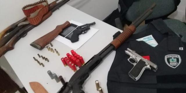 Operação das polícias civis da PB e do RN prende suspeitos e apreende armas na região de São Bento