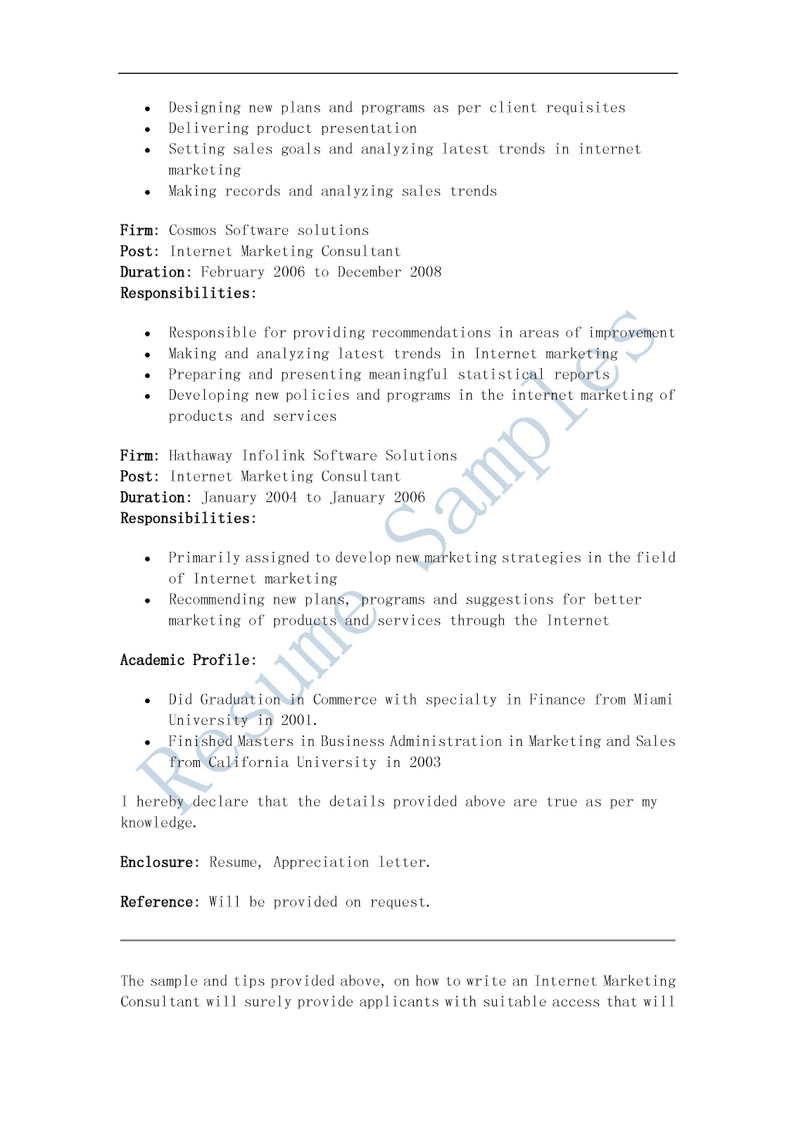 resume samples  internet marketing consultant resume