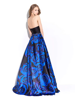 Black Blue Roses Prom Dress