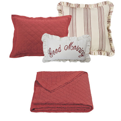 Prescott red striped Euro sham, red diamond linen quilt, Good Morning Pillow from HiEnd Accents