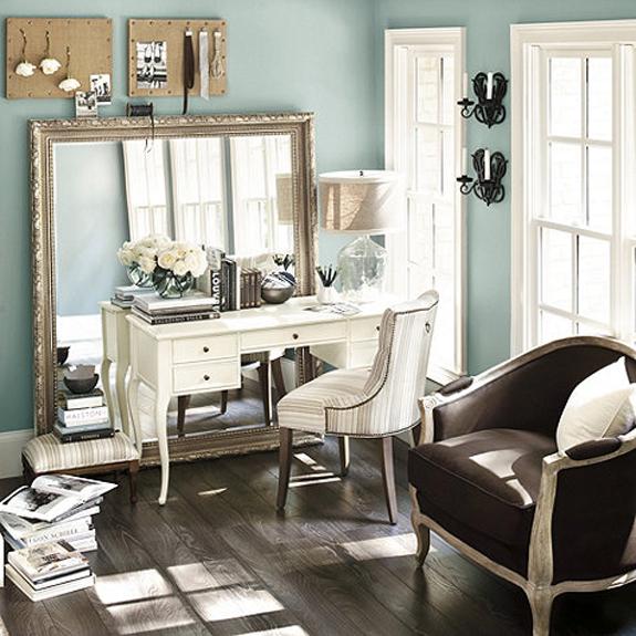 Elegant Office Decorating Ideas: The Pink Chalkboard: Big Statement Mirrors