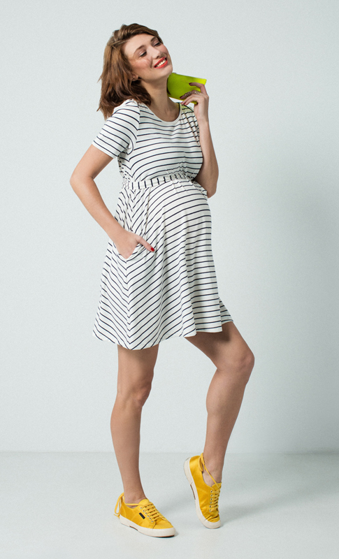 3ad2715f5ef For the Summer, a jersey A LineDress with stripe detail is a great option  for an easy chic daytime look. Style with sandals or sneakers – comfort and  style ...