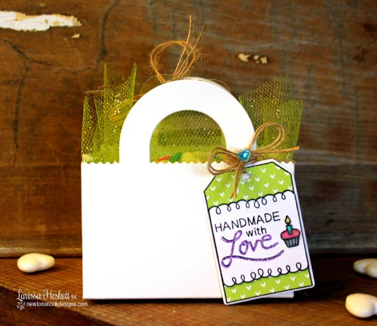Treat container with Tag by Larissa Heskett | Tag Sampler stamp set by Newton's Nook Designs #newtonsnook