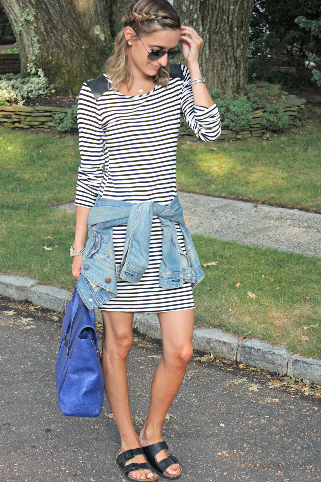 transitional fall striped look