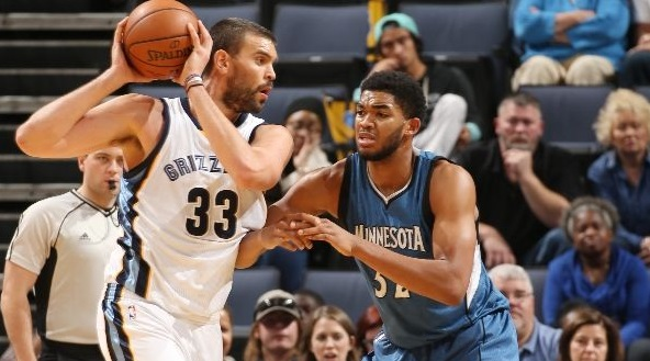 Karl-Anthony Towns défends sur Marc Gasol