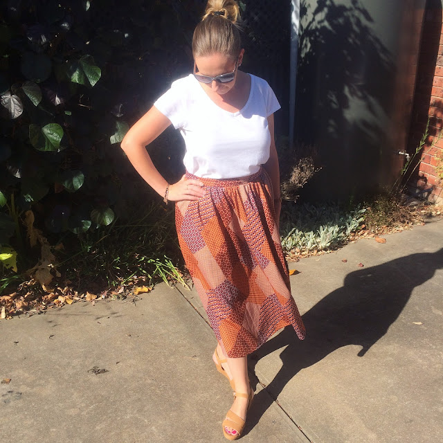 vintage skirt and white tee | Almost Posh