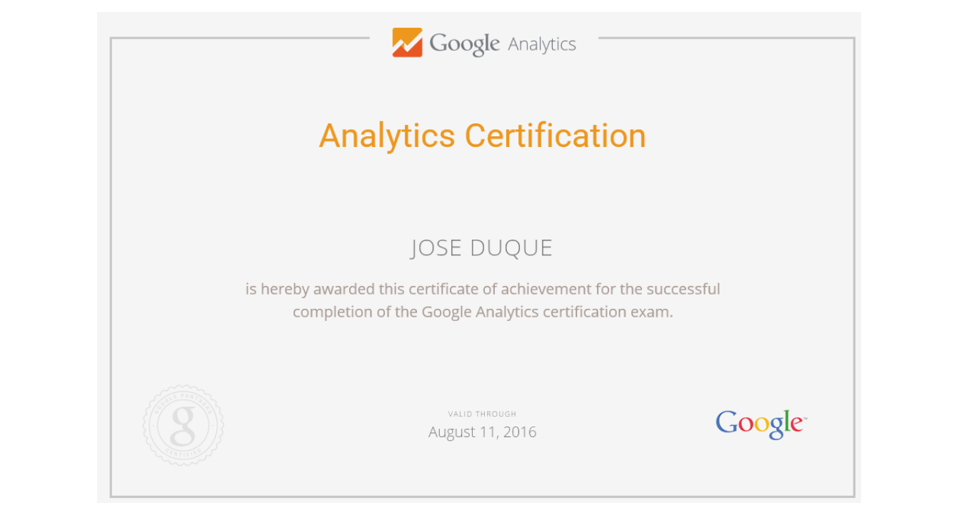 Examples Of Best Certificate: Google Analytics ...