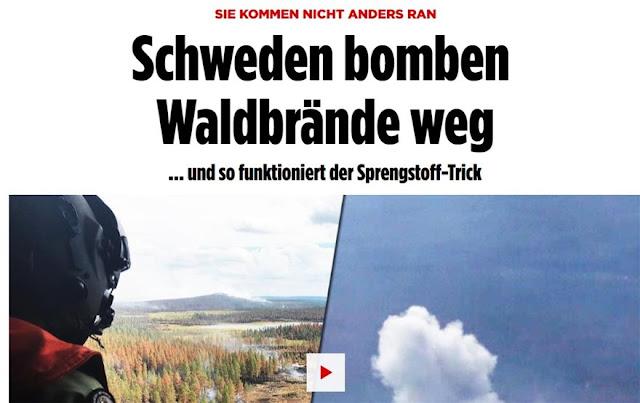 Οι Σουηδοί ρίχνουν ακόμη και βόμβες στις πυρκαγιές